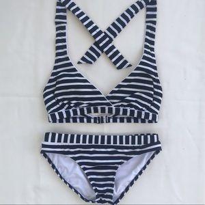 Lands End Two Piece | Bikini. Blue & White. Size 6